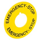 Emergency Stop Legend Plate Yellow