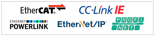 EtherCAT, CC-Link IE, PROFINet, Ethernet IP, Ethernet Powerlink logos